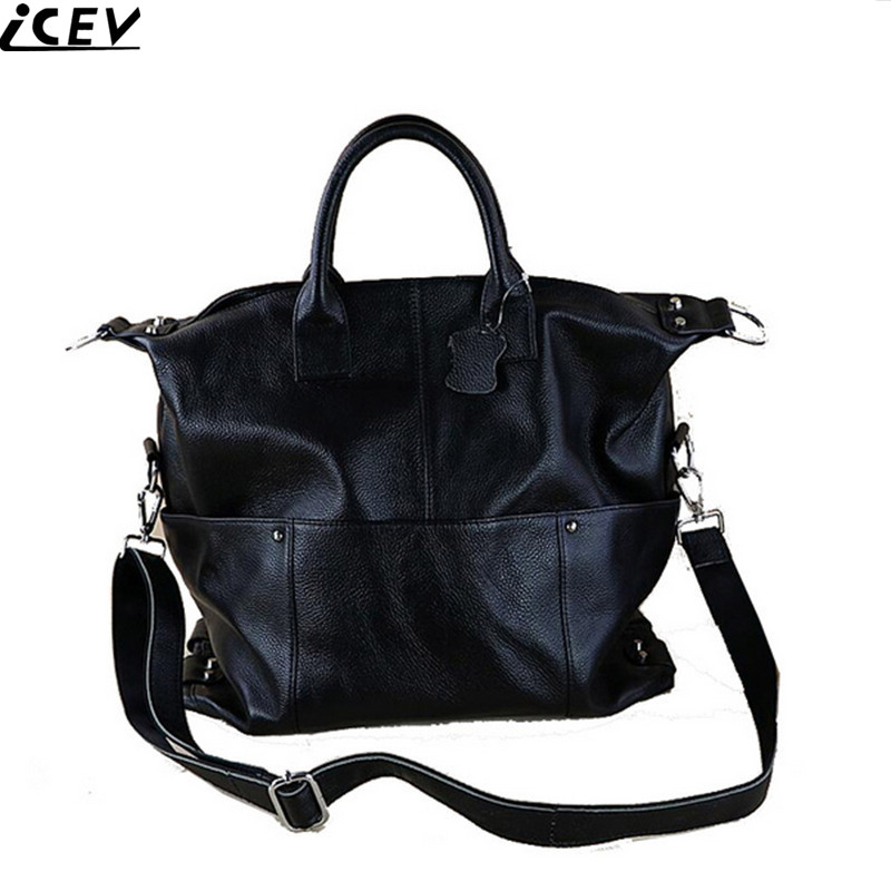 ICEV new 100% genuine leather women handbag famous brands large tote bag big black handbag casual messenger bag ladies briefcase