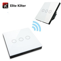 Elite Kilter Smart Touch Switch Wall Light Switch With 3 Gang Touch Remote Controller AC 170V