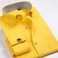 Французский кнопка манжеты Вечернее Платье рубашки Высокого Качества Без Железа С Длинным Рукавом Рубашки Мужские сплошной цвет Печатается Добби Рубашки Бизнеса