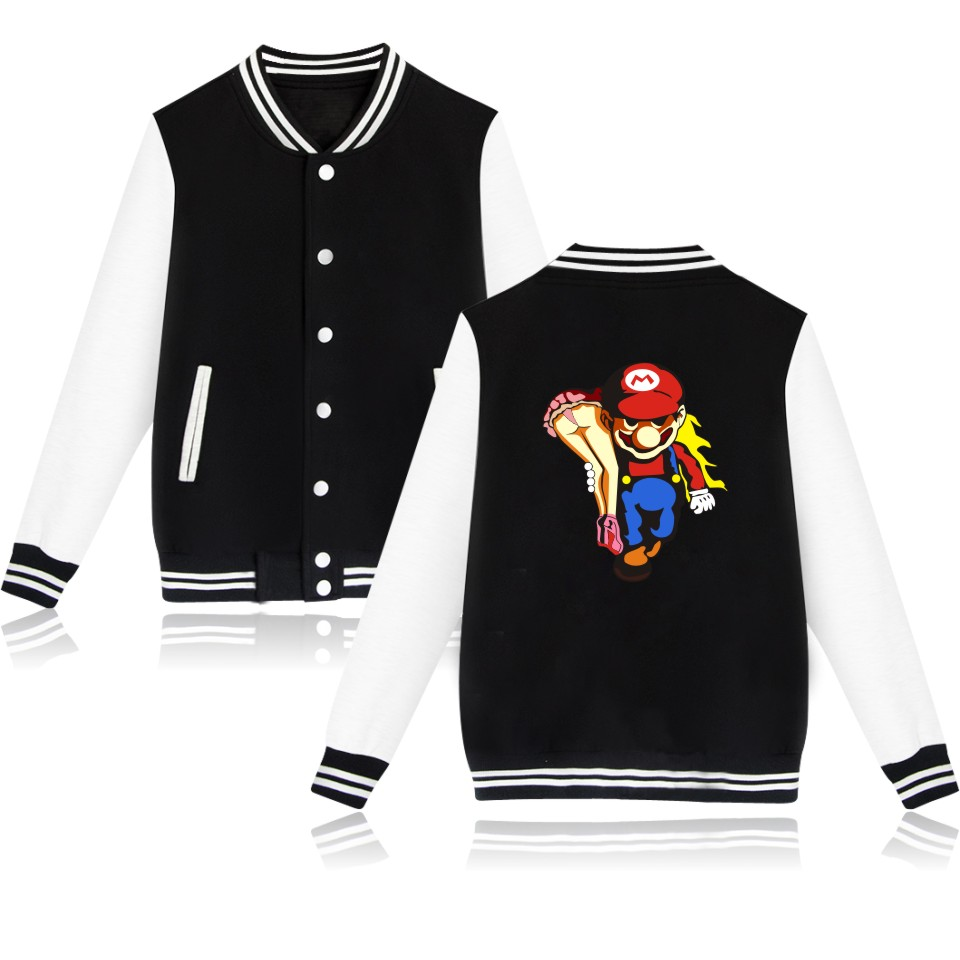 Winter Super Mario Jacket Men And Women Baseball Jackets Super Mario Pattern Clothes Fashion Streetwear Clothing
