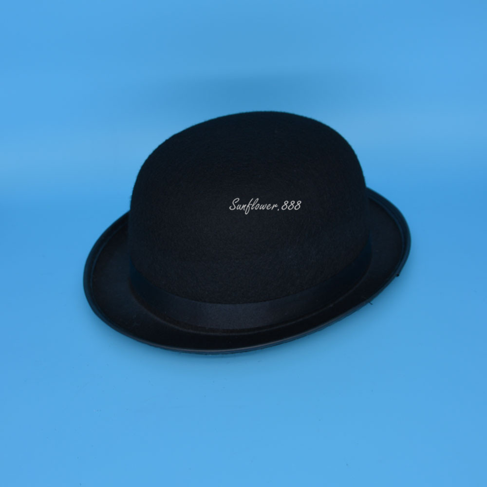 c661d12728d Aliexpress.com   Buy Women Men Nice Felt Black Bowler Hat Derby Theater  Caps For Adults Performance Show Wear Party Dress Halloween Christmas from  Reliable ...