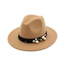 Elegant Spring Sun Hat Winter Pearl Fedoras Women Felt Jazz Vintage Flat Wide Brim Bowler Cap Gift