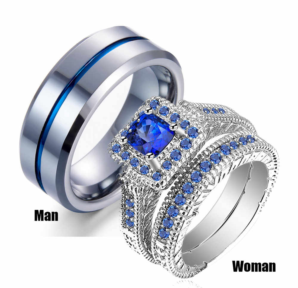 His & Hers Couples Ring Sets Womens White Gold Filled Blue Stone CZ Engagement Bridal Rings Mens Stainless Steel Wedding Band