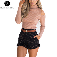 Lily Rosie Girl Winter Casual Turtleneck Solid Sweater 2018 Women Cold Shoulder Pullover Elegant Sweater Female