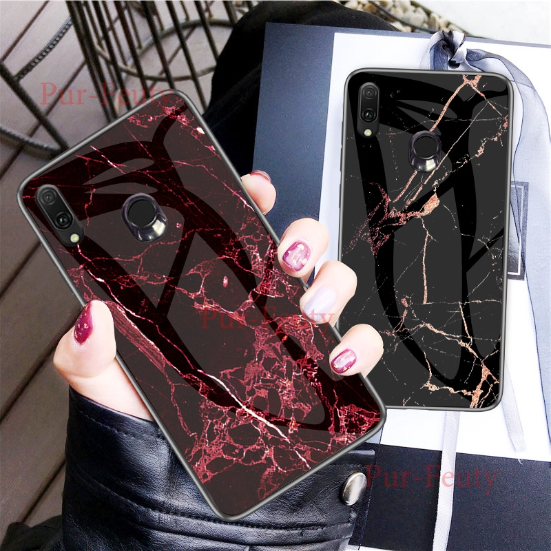Case For Samsung Galaxy A 30 2019 A305FN/DS Marble Grain Hard Tempered Glass Protect Back Cover for Galaxy A50 2019 A505 SM-A505