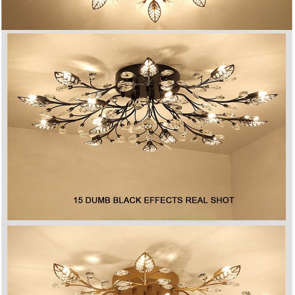 HTB1HAZ5co4WMKJjSspmq6AznpXaM Modern Flush Mount Home Gold Black LED K9 Crystal Ceiling Chandelier Lights Fixture for Living Room Bedroom Kitchen Lamps