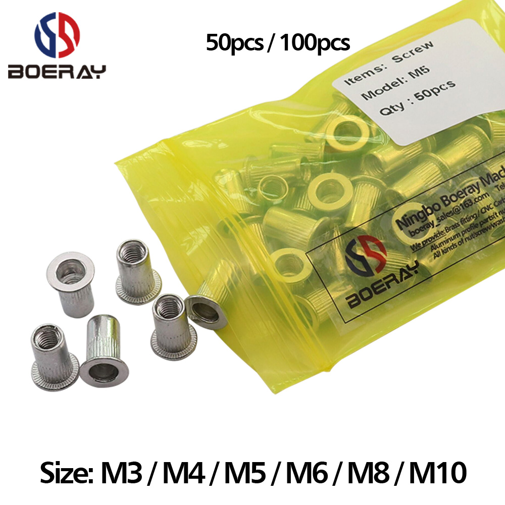 Rivet nut flat nut internal thread,144pcs M10 M12 M6 M5 M8 M4 yellow galvanized Classification kit
