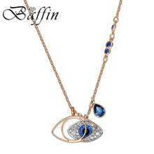 BAFFIN Fashion Variable Shape Eye Pendants Necklaces Crystals From Swarovski Elements Rose Gold Color Collares For Women Gifts