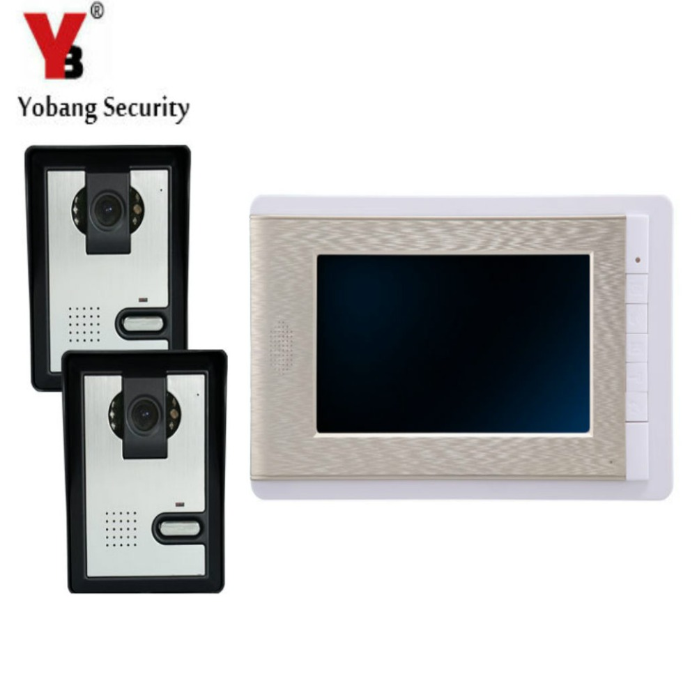 YobangSecurity 7 Inch Wire Video Door Phone Indoor Monitor Night Vision Waterproof Outdoor Camera with RainCover Intercom System yobangsecurity 7 inch wire video door phone doorbell intercom system waterproof outdoor camera with raincover intercom system