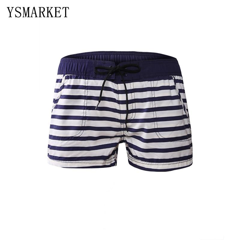 Summer Swim Trunks Women Nautical Striped Beach Shorts Fitness Sport Pants Outdoor Clothes Bikini Bottoms Beachwear Q410279