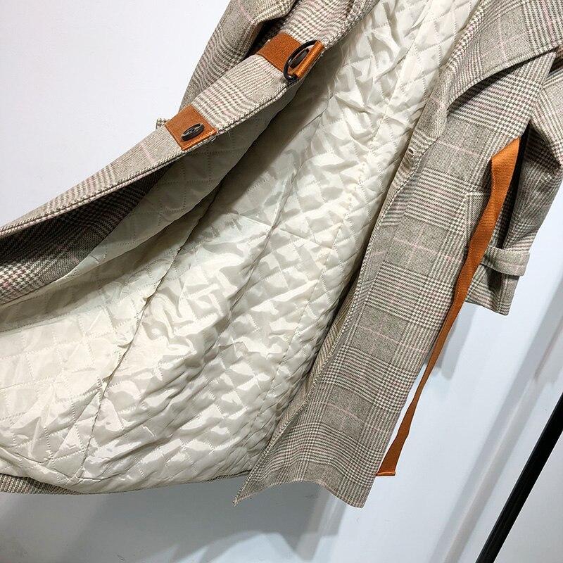 Streetwear Rubans Contraste Style Vintage Automne Couleurs Manteau Femmes Mode Double Breasted Plaid Kaki Hiver 2018 Laine Mélanges pwtqznvz