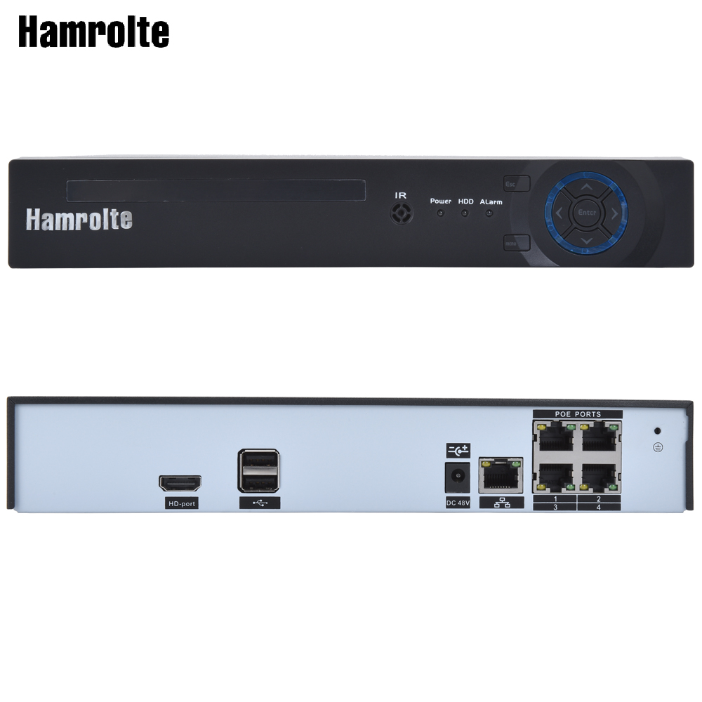 Hamrolte CCTV NVR 4CH H.265 POE NVR Max 4K Output For IEEE802.3af 48V POE IP Camera Support Motion Detection Remote Access XmeyeHamrolte CCTV NVR 4CH H.265 POE NVR Max 4K Output For IEEE802.3af 48V POE IP Camera Support Motion Detection Remote Access Xmeye