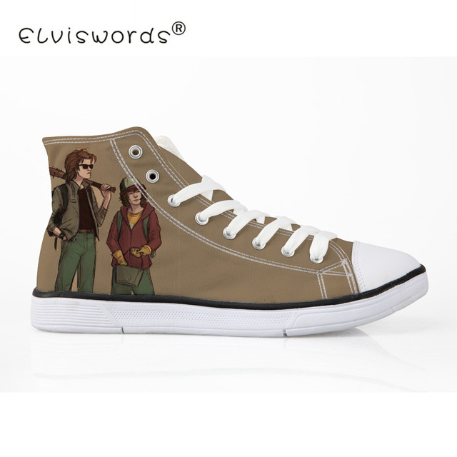 a4a3adf40edd ELVISWORDS Lace-up Canvas Shoes Women Stranger Things Print Ladies Casual  Flat Platform Shoes Student Espadrilles Zapatos Mujer