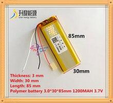 Bateria de Polímero Frete Grátis 3 Fios 3.7 V 303085 de Lítio 1200 Mah Interfone 033085 Gpsmp3 Mp4 Mp5 Baterias Recarregáveis
