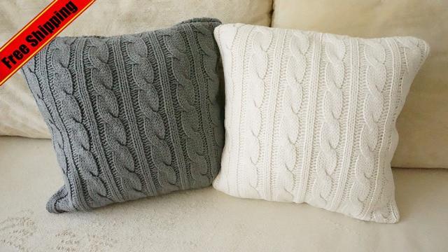 Tricot Canapé Siège Throw Housse De Coussin Pur Blanc Et Gris Décoratifs Pour La Maison Taie