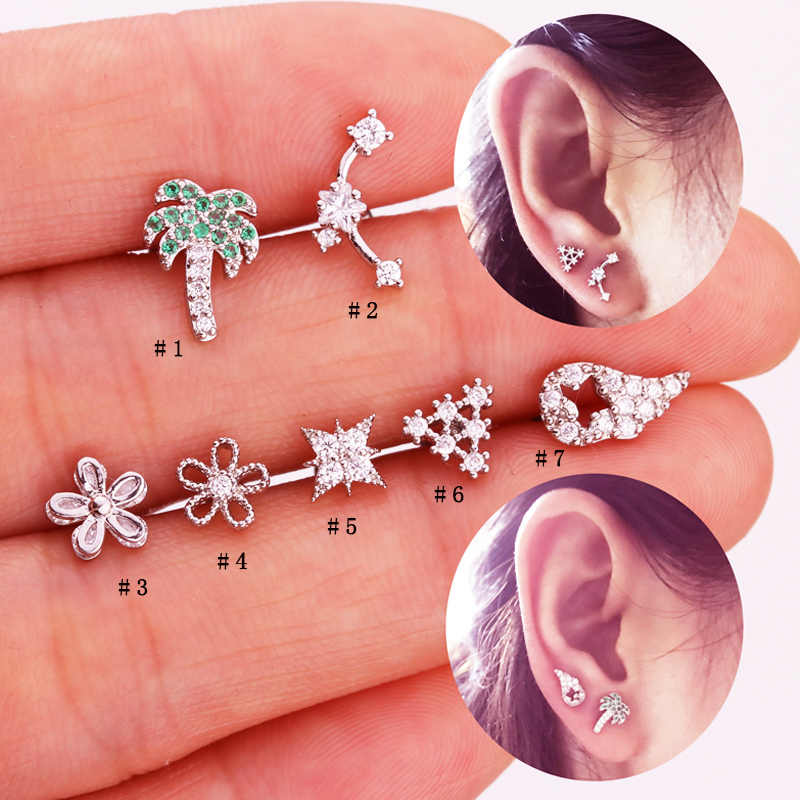 Sellsets 1 PC Pretty Flower Hollow out Wing Triangle CZ Tragus Daith Helix Rook Piercing Studs Jewelry