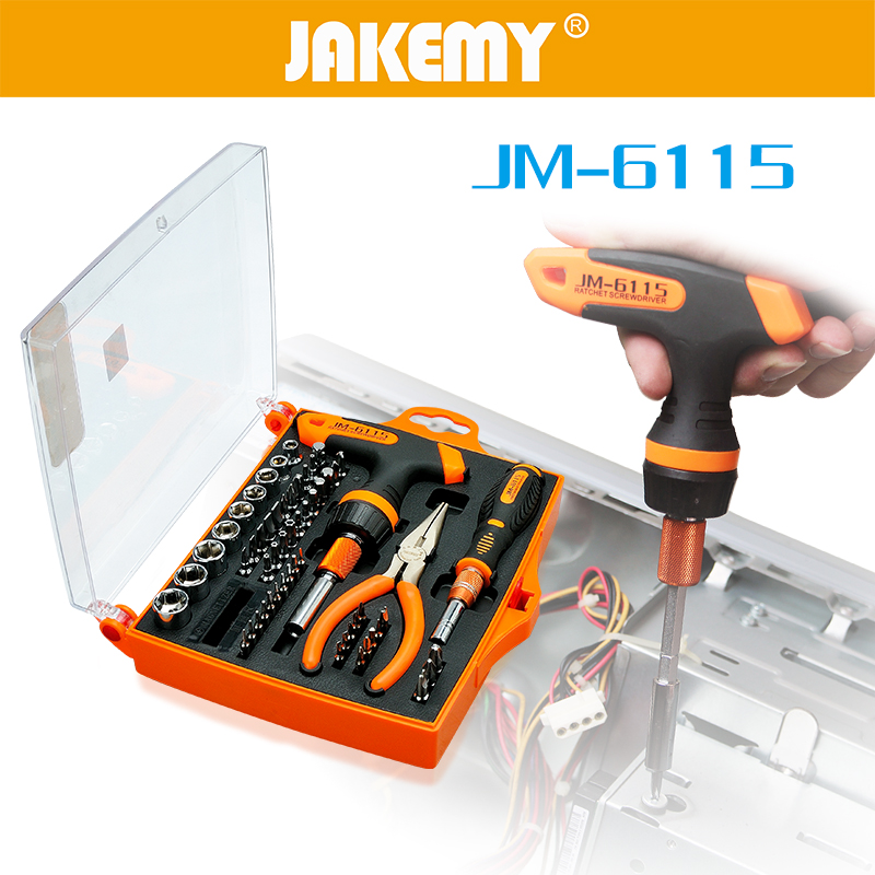 60 in 1 JAKEMY Screwdriver Ratchet Socket Set T Type Handle Needle-nose Pliers for Household Appliances Repair Tool Kit itechor 8 inch 200mm flat nose glass cutting nipping running pliers household hand tool black handle