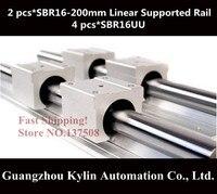 Hot Sale 2 Pcs SBR16 200mm Linear Bearing Supported Rails 4 Pcs SBR16UU Bearing Blocks Sbr16