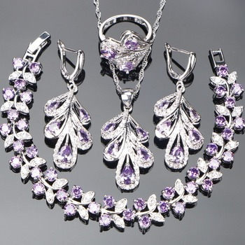 Bridal Purple Jewelry Sets For Women