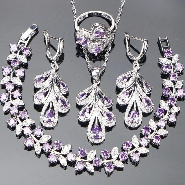 Bridal Purple Jewelry Sets For Women