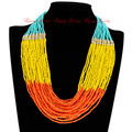 2014 New Hot Fashion Blue Long Chain Style Handmade Color Perfect Match Beads Loop Free Shipping Pendant Necklace