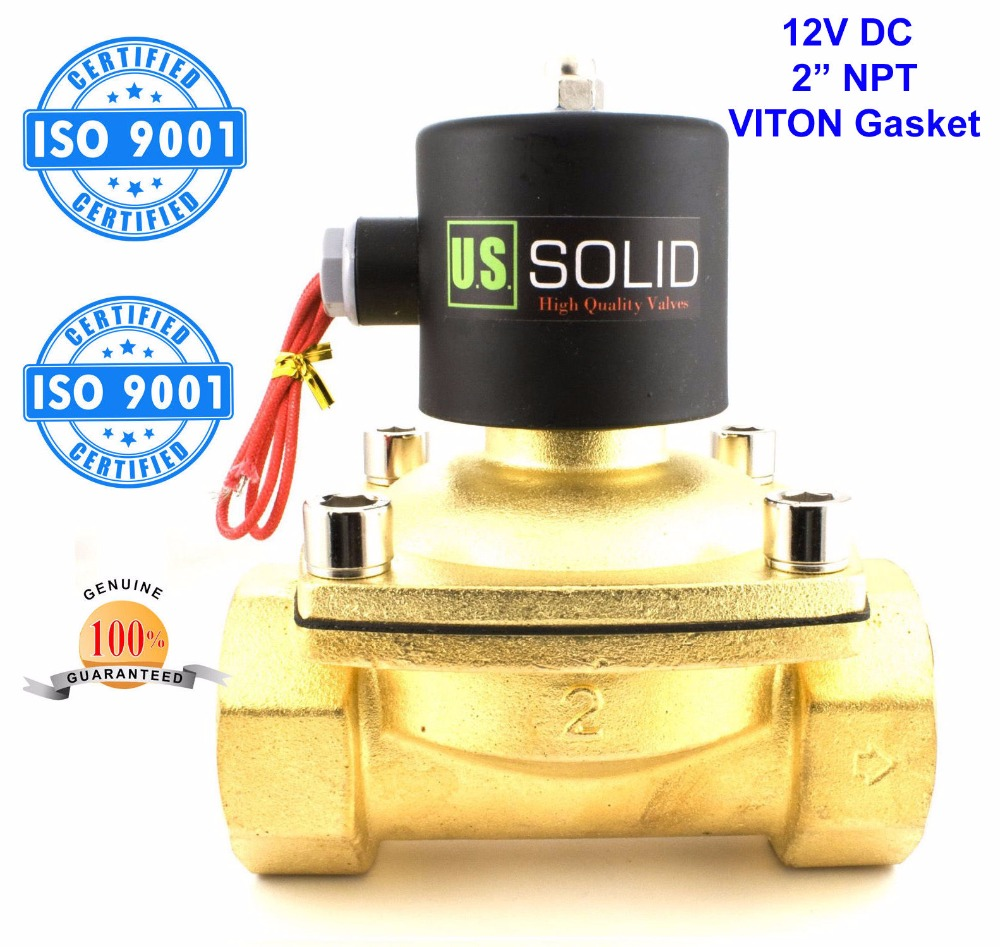 U. S. Solid 2 Brass Electric Solenoid Valve 12V DC NPT Thread Normally Closed for Air Water Diesel ISO Certificated утюг vitek vt 1234 w 2400вт белый