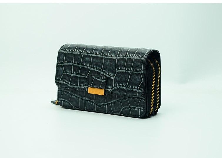 Sac à main double fermeture éclair en cuir véritable crocodile rectangle femmes-in Portefeuilles from Baggages et sacs    2