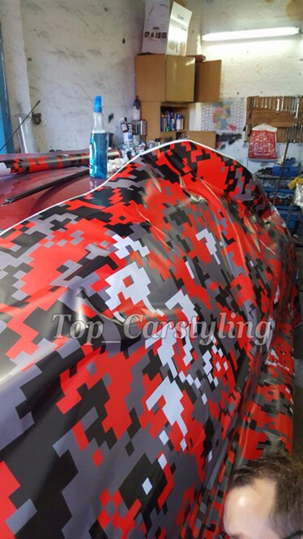 1.52x20 m/roll rouge noir blanc Camouflage housse de voiture en vinyle Camo vinyle rouleau Film décalcomanie autocollants pour Scooter moto bricolage décorer
