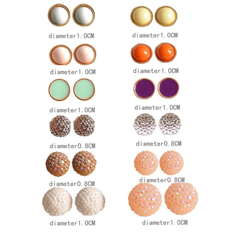ファッションゴージャスな女性ジュエリーガールボーイ誕生日パーティーラウンドパール耳ネイル混合12組/セットセットのイヤリング
