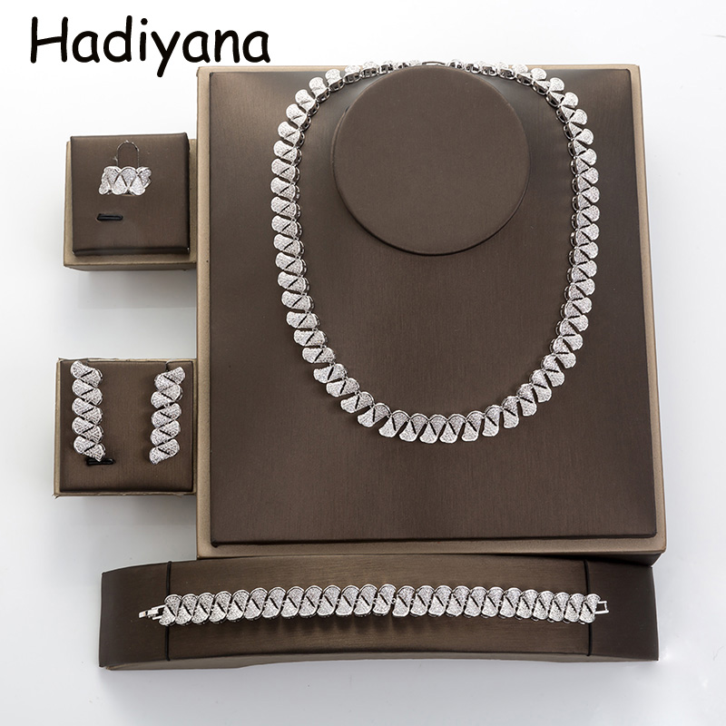 Jewelry Set HADIYANA High Quality Luxury VintageLuxury WomenTiny temperament Vintage 4pcs Drop Shipping TZ8038 Conjunto de