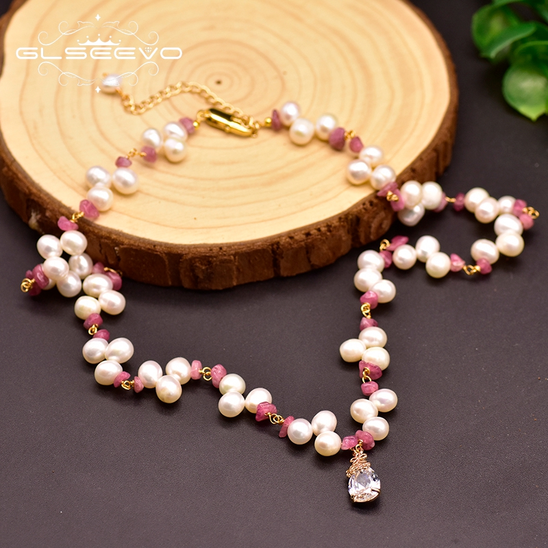 GLSEEVO Natural Fresh Water White Pearl For Women Girl Lovers' Gift Birthday Pendant Necklaces Handmade Fine Jewellery GN0139