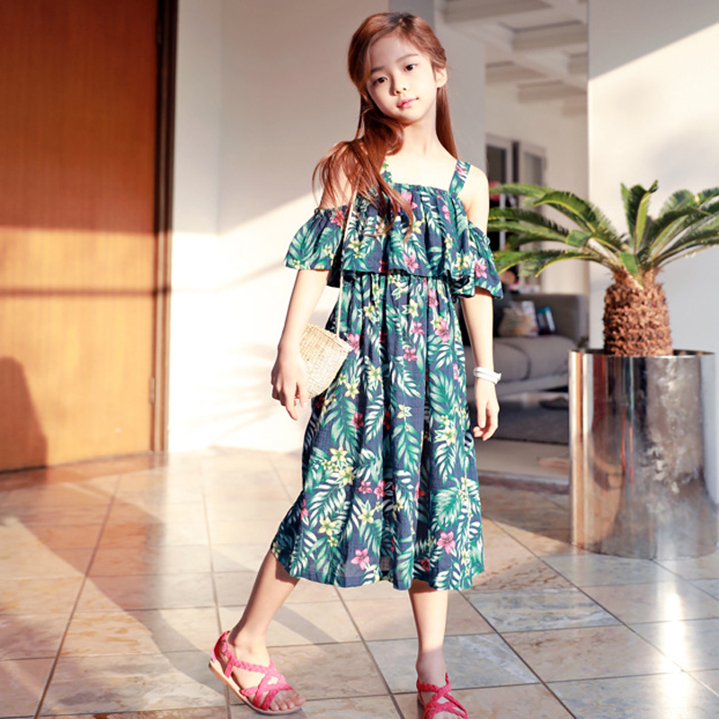 все цены на Summer Beach Dress Baby Girls Dress 2018 Green Leaf Print Off-shoulder Cotton Dress Age 3 4 6 8 10 12 14 years Kids Dress