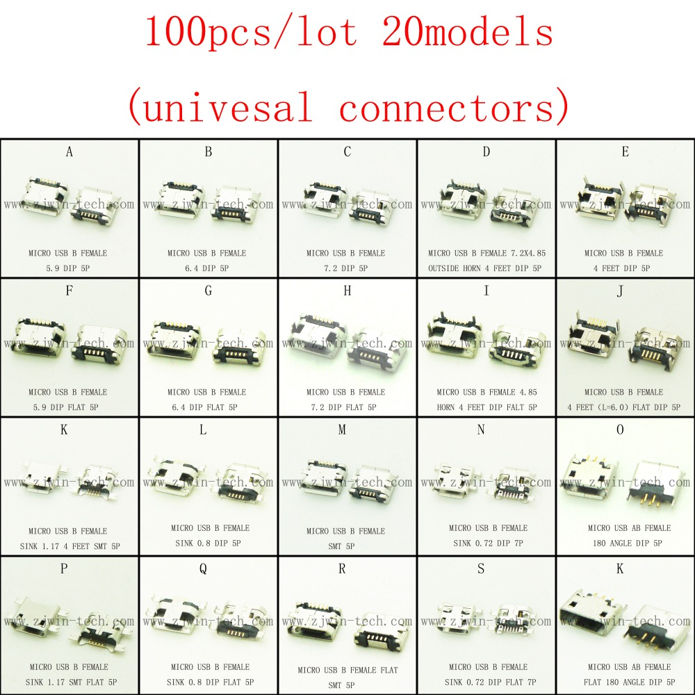 Promotion!100pcs/lot 20models micro USB 2.0 connector USB jack for mobile tabletels speakers etc charging socket 10pcs lot micro usb connector jack