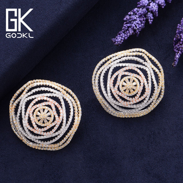 GODKI Luxury Geometry Cubic Zirconia Nigerian Big Stud Earrings For Women Wedding African Bridal Earrings boucle doreille femme