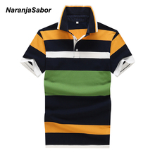 NaranjaSabor Men's Polo Shirt Men Striped Polos Summer Brand Clothing Mens Short Sleeve Turn-Down Collar Polo Shirts Cotton 4XL