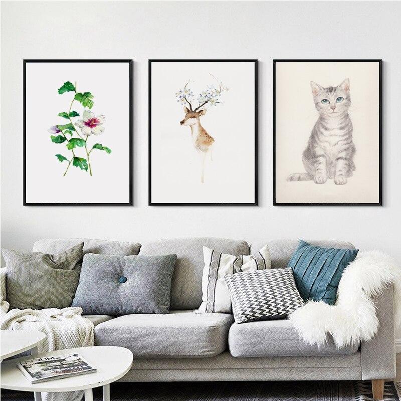 Nowoczesne simple nordic ilustracji akwarela kwiat deer kot abstrakcyjne sztuki  plakat a4 ptnie