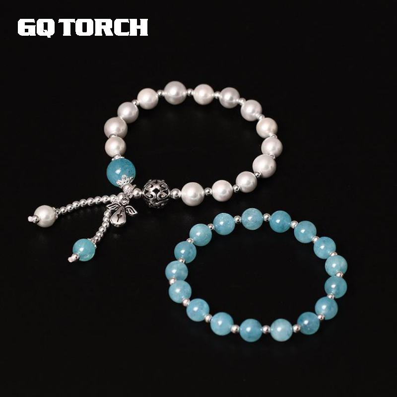 GQTORCH Bracelets & Bangles 925 Sterling Silver Tassel Bracelet DIY Beads Hand String Natural Pearls And Aquamarine Double Layer candy coloured string hand chain bracelets
