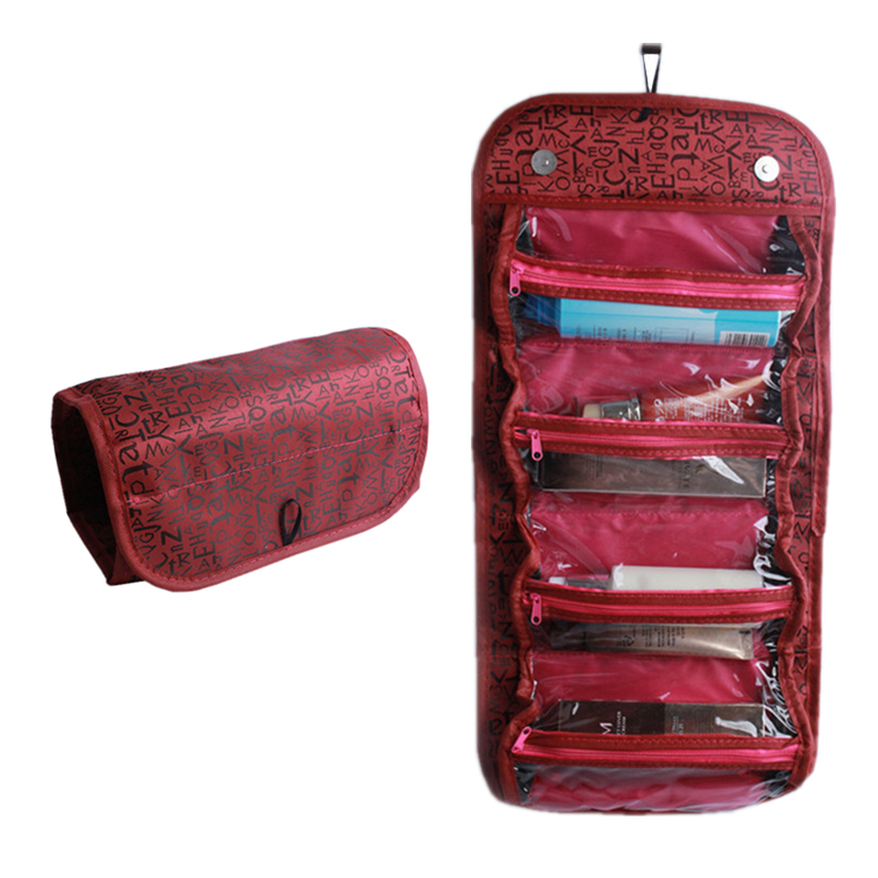Travel women Cosmetic Bag High capacity Folding Drumtype For Organizers Cosmetic toiletry Storage Cosmetic Bag Jewelry