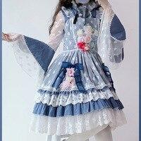 Japanese sweet lolita set vintage lace bowknot cute printing lolita dress+stand flare sleeve lolita shirt+headwear loli set