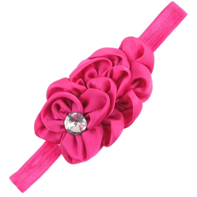 Hot Sale 3 Sets of Bandeau des Fleurs pour Bebes Filles Mousseline de Soie Beaute(Rose-Rouge)