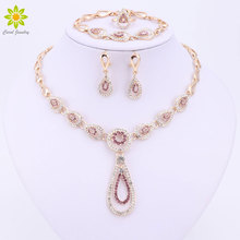 2Color Crystal Jewelry Sets For Women Fashion Wedding Water Drop Necklace Earrings Bracelet Ring Party Accessories