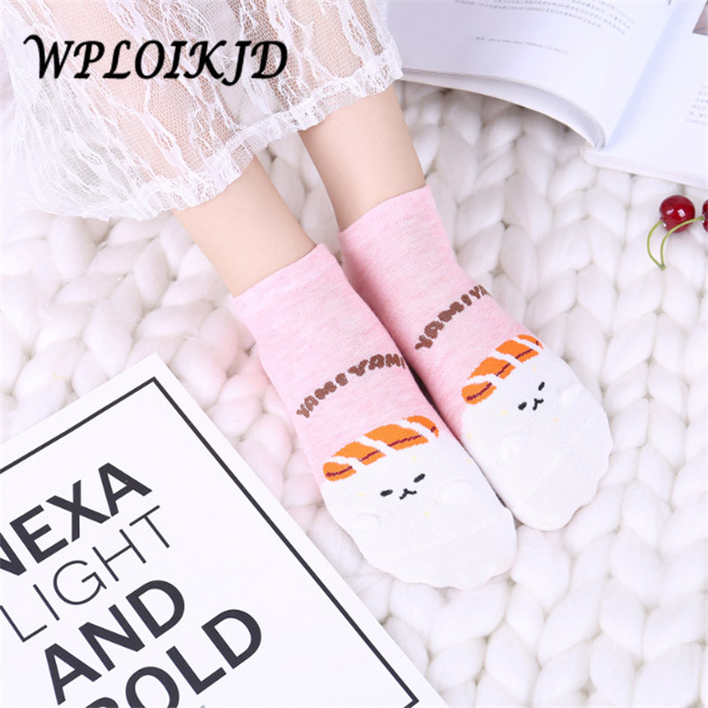 [WPLOIKJD]Japan Spring Summer New Product Color Diversity College Style Cotton Lovely Cartoon Socks Women Casual