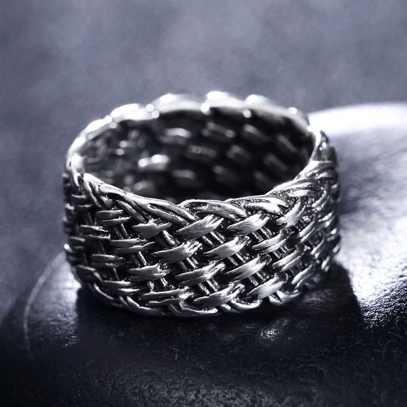 Brand 925 Silver Fashion Jewelry Gothic Weave Style Ring For Man Woman Men Gift Finger Rings цена