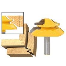 "1/2 ""1/4"" 8mm haste de 45 graus tenon roteador bit para madeira articulada bit carpintaria fresa ângulo direito cnc ferramenta bit"