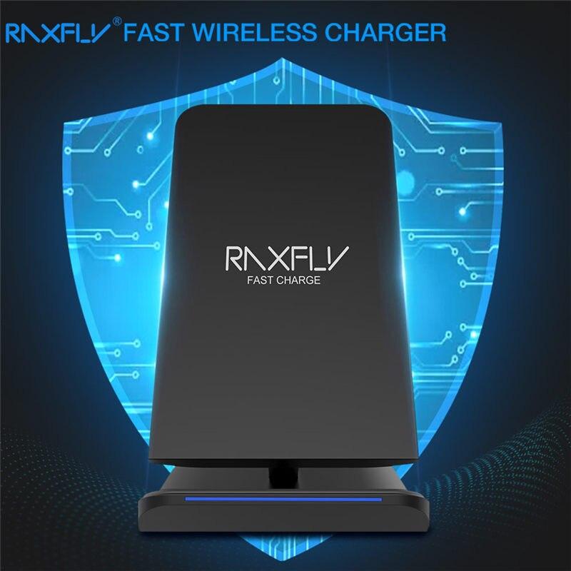 RAXFLY cargador inalámbrico para iPhone XS Max XR XS X 8 10 W Qi cargador rápido para Samsung S10 S9 s8 más S7 S6 Nota 9 8 de carga rápido