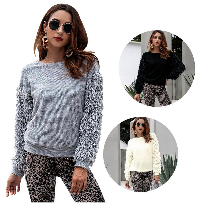 Women's Casual Autumn And Winter Middle Eastern Tassel Long Sleeve Sweater Fashion Tassel Stitching Round Neck Pullover Sweater