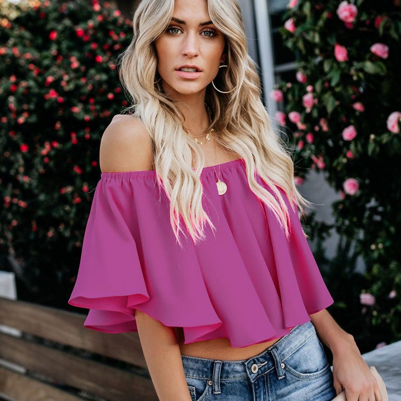 Summer Women Salsh Neck Chiffon Blouses Fashion Boho Floral Printed Shirts Ladies Casual Short Sleeve Off Shoulder Blouse Tops Price $27.36