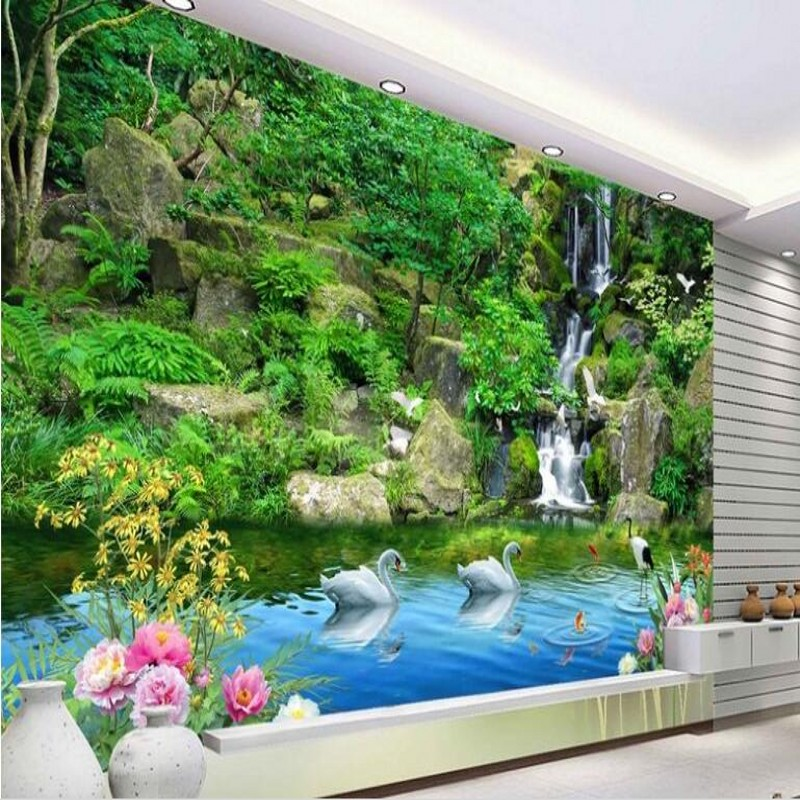Can Be Customized Large Scale Mural 3d Wallpaper Wall: Beibehang Custom Large Scale Murals Qingshanlvshui 3D TV