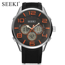 SEEKI Gents Dual Display Chronograph Stainless Steel Case Rubber Strap Mens Sport Fashion Watch LED Alarm Wristwatches Orange