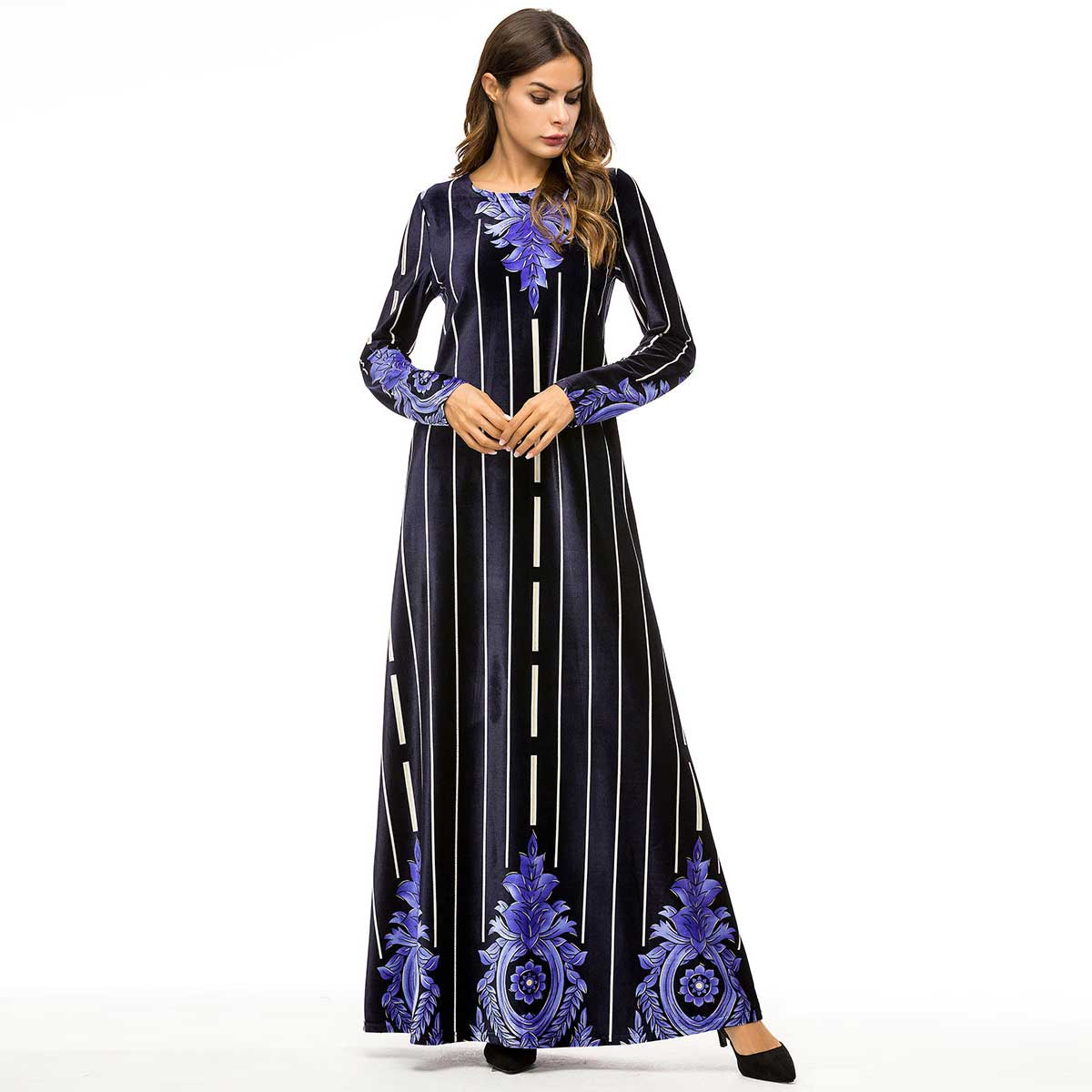2019 brand women floral print velvet abaya oversized maxi dress Autumn winter Muslim Arabic Dubai Ramadan islamic robe VKDR1410-in Islamic Clothing from Novelty & Special Use on Aliexpress.com | Alibaba Group
